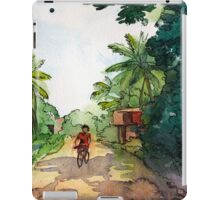 landscape watercolor Indian village, a cyclist on the road iPad Case/Skin