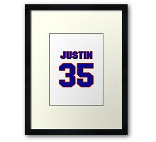 National football player Justin Rogers jersey 35 Framed Print