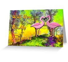 An Invitation to be a Valentine by 2 Flamingos Greeting Card