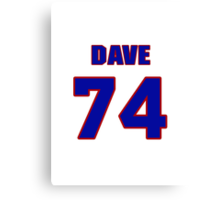 National football player Dave O'Brien jersey 74 Canvas Print