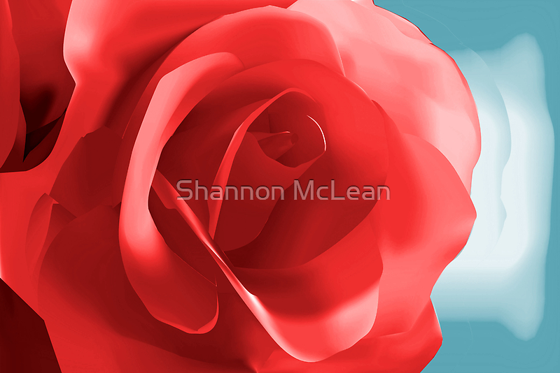 Digital Painted Red Rose by shanmclean