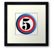 FIFTH, FIVE, 5, Roundel, TEAM SPORTS, NUMBER 5, Competition, White on Black Framed Print
