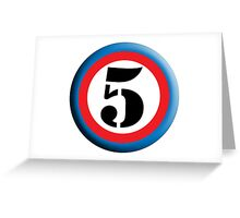 FIFTH, FIVE, 5, Roundel, TEAM SPORTS, NUMBER 5, Competition, White on Black Greeting Card