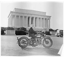 Woman on Motorcycle in Washington Poster