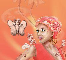 Peach, Flower, Curls by shanmclean