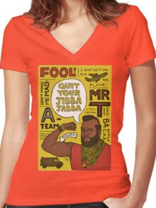 jibba jabba Women's Fitted V-Neck T-Shirt