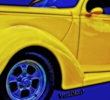 Yellow Ford Coupe in a Poster Style Format Sticker