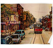 PAINTINGS OF TORONTO TORONTO ART TORONTO CITY SCENE PAINTINGS TORONTO TRAMS AND RESTAURANT PAINTINGS Poster