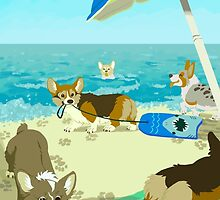 Pups on Corgi Beach by Growly