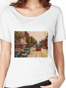 PAINTINGS OF TORONTO TORONTO ART TORONTO CITY SCENE PAINTINGS TORONTO TRAMS AND RESTAURANT PAINTINGS Women's Relaxed Fit T-Shirt