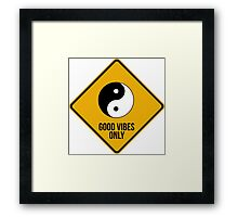 Good vibes!!! Yin Yang - Music is the answer  Framed Print