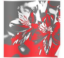 Homescape - grey and red orchid 2 Poster