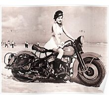 Motorcycle Girl on Beach Poster