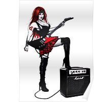 Punk Rock Pinup Girl wearing Scottish Tartan Mini Skirt  Poster