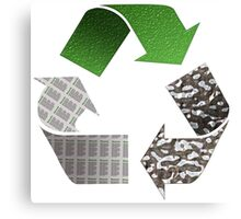 Recycle symbol with newspaper glass and metal Canvas Print