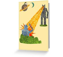 Damask Robot Fight Greeting Card