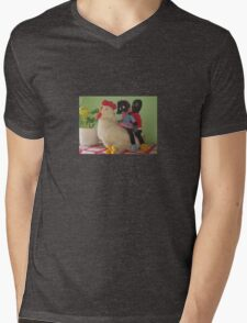 Gollies riding a Chicken Mens V-Neck T-Shirt
