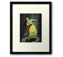 Kitty Dances in the Kitchen Framed Print
