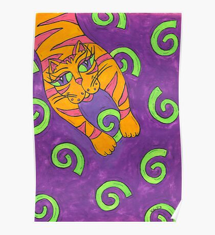 Leaping cat Poster