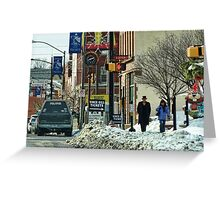 A Snowy Day in Town Greeting Card