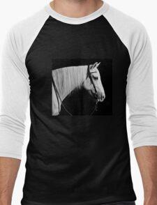 gray horse portrait on black Men's Baseball ¾ T-Shirt