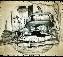 Rusty car drawing by RobCrandall