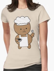Chef Cat Kitty Womens Fitted T-Shirt
