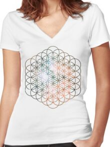 Kid Cudi Galaxy [Red] Flower of Life | Sacred Geometry Women's Fitted V-Neck T-Shirt