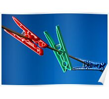 Red Green and Blue Pegs Poster