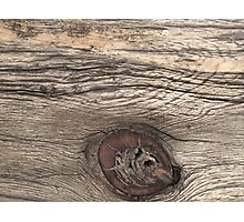 Old Weathered Wood with Knot Photographic Print