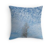 Cypress Under a Popcorn Sky Throw Pillow