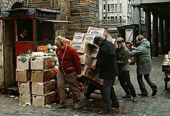 """""""A Helping Hand"""", Covent Garden Market, London, 1973. by David A. L. Davies"""