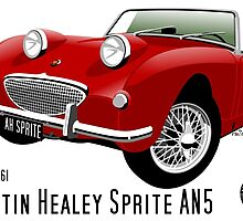 Austin Healey Frogeye Sprite tartan red  by car2oonz