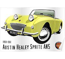 Austin Healey Frogeye Sprite primrose yellow Poster