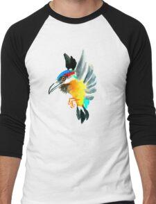Watercolor Brush Stroke Kingfisher Men's Baseball ¾ T-Shirt