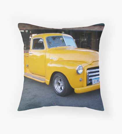 48 GMC Yellow Pick up Throw Pillow