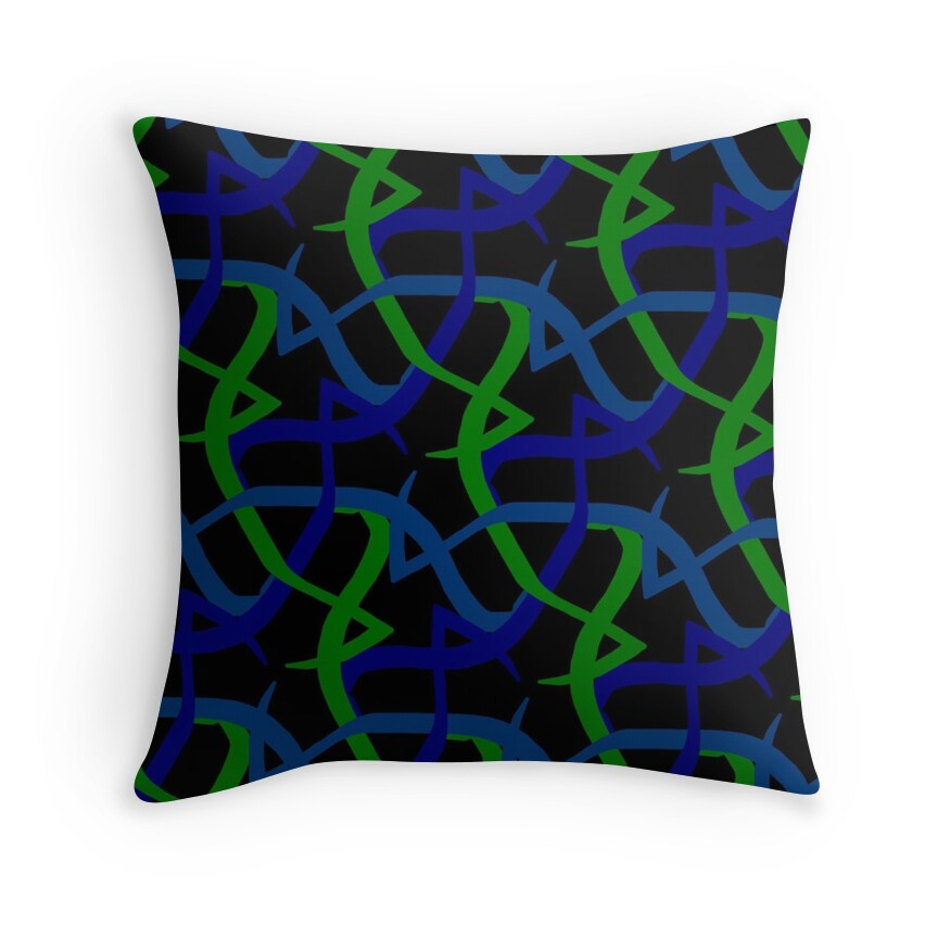 Lime Green And Blue Throw Pillows :