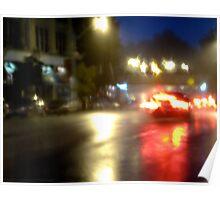 Rocket-Car In The Rain Poster