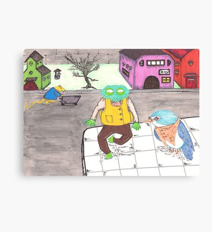 Hamster, Frog, Bird Canvas Print
