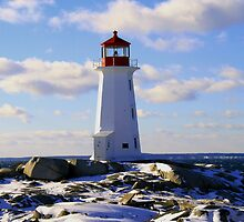 Peggys Cove In Winter by HALIFAXPHOTO