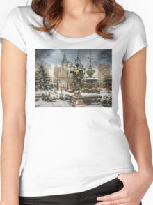 Snowstorm At City Hall Women's Fitted Scoop T-Shirt