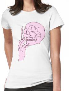 Smoking Skull Womens Fitted T-Shirt