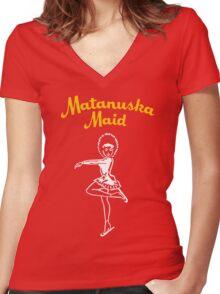 Matanuska Maid ~ Yellow and White Women's Fitted V-Neck T-Shirt