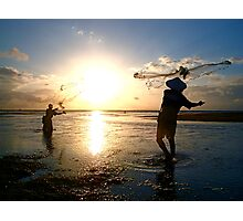 Balinese Fishermen Casting Nets at Sanua Dawn Photographic Print