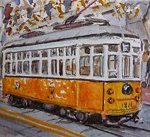 San Francisco Orange Streetcar by jadlart