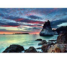 Te Hoho Rock, Flaming Embers Photographic Print