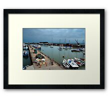 A grey day in the harbour. Framed Print