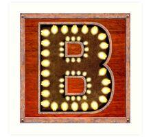 Vintage Lighted Sign - Monogram Letter B Art Print