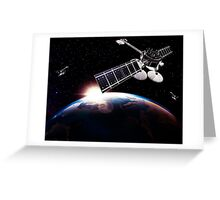Communication satellites in space above Earth with rising sun art photo print Greeting Card