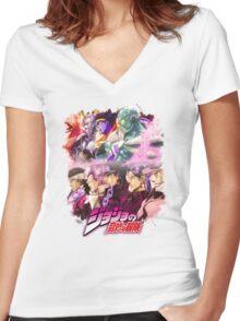 JoJo's Bizarre Adventure - Stardust Crusaders Japanese Logo Women's Fitted V-Neck T-Shirt